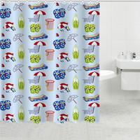 Fabric painting kids cartoon curtains banyo aksesuarlari with beach pattern
