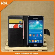 Best Selling Stand Cover PU Leather Flip Wallet case for SamSung Galaxy Ace Plus S7500 with Business Card Holder