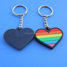 Colorful heart rubber 2D adversting cheaper keychains