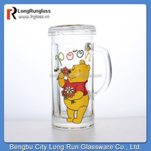 LongRun high quality transparent glass cup with handle