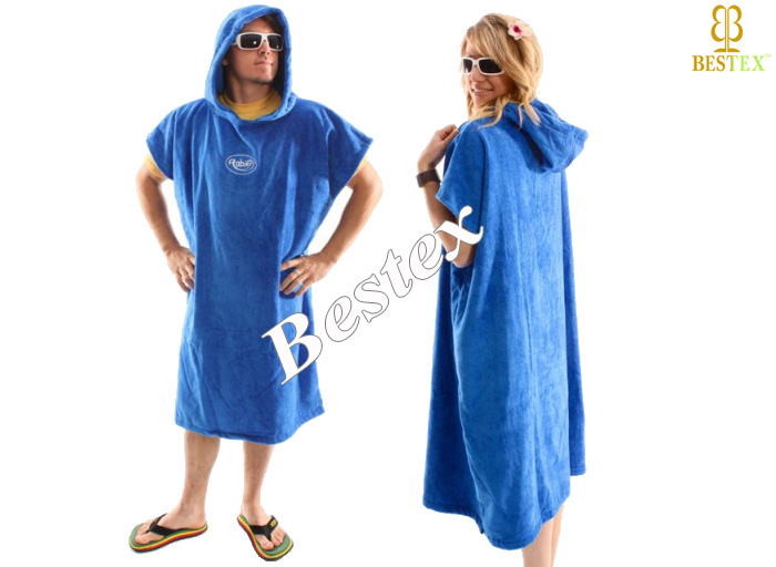 Terry Cloth Hooded Poncho Towel Adult Cotton Beach