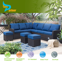 Fancy Royal China Furniture Sofa Set Blue Set with Cushion Rattan Conversation Set Outdoor Furniture