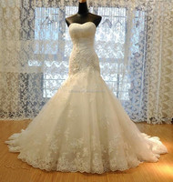 JM.Bridals MZY219 Ivory White Lace Tulle Beaded Sweetheart Floor Length Lace Up Mermaid Wedding Dress