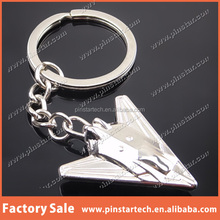 Alibaba China supplier wholesale custom high quality silver tone mini airplane metal promotional gift keychain keyring craft