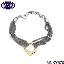 Alibaba Italian Yellow Ion plated Open Heart Silver Mesh Bracelet