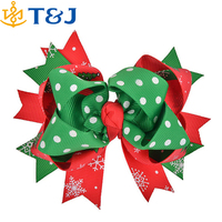 Hot Sale Kids Hair Accessories Red Green Polyester Handmade Christmas Gifts Bow Hair Clip for Girls