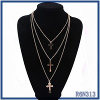 Imitation brand gold chains necklace names fashion teen girls sideway cross pendants fine necklace