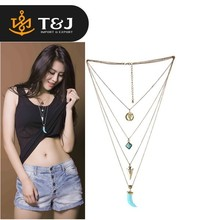 2015 hot sale fashion jewelry boho wolf tooth multiple layered tassel turquoise multiple pendant necklace