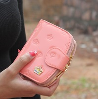 new candy-colored bright embossed crown wallet