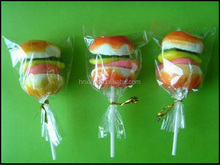 20g hamburger shaped sweet gummy marshmallow lollipop candy