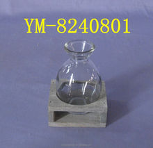 Decorative Wooden Candle Holder with Glass