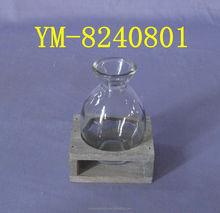 Decorativa de madeira suporte de vela com vidro