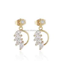 High quality copper fashion earring with zircon eardrop girls favorite piercing hanging earring in stock !!(EA81070)