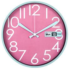 "12"" modern decorative plastic analog calendar office wall clock"