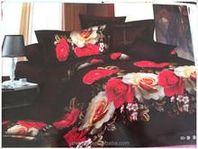 3D design print microfiber comforter bedding set blue floral quilt