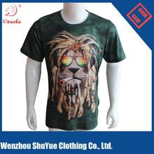 100% Polyester 3D animal Print T Shirt , full sublimation printing tee shirt