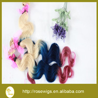 Alibaba high fashion Blonde/blue/pink ombre hair extension Brazilian ombre hair weaving body wave 3pcs a lot