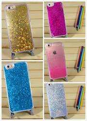 Transparent Plastic Liquid Quicksand 3D Bling Bling Glitter Star Mobile phone Clear Back Case Cover for Apple iPhone 5/6/6 plus