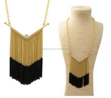Chunky chevron Chain Tassel Crystal Pendant Necklace