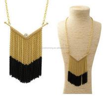 Chunky chevron Chain Tassel Crystal Pendant Necklace