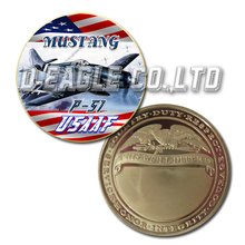 USAAF P-51 Mustang Color Printed Gold Souvenir/ Custom Challenge Coin/ Custom Coin
