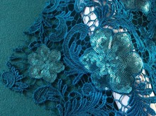 2016 high quality chemical embroidered lace fabric with sequins