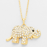 CRYSTAL PAVE ELEPHANT PENDANT NECKLACE