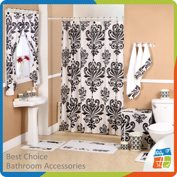 19pcs Bathroom Window Curtain With Shower Curtain Set