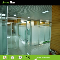 For Office Decoration Interior Partition Room Frosted Tempered Glass Wall