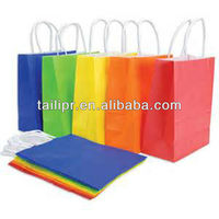 Wholesale custom multicolor printed white kraft paper bag with twisted paper cord