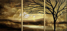 Popular Design High Quality cloud and tree Landscape Oil Painting sunset oil painting groups