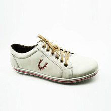 white color fashionable lace up rubber outsole cow leather men's platform casual shoes