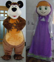 HI CE carton character costumes for adults,movie character mascot costume,Masha and the bear mascot costume