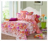 hot sales 100% cotton flowers bedding set 3d bed sheet 4pcs