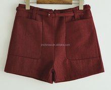 women's two big pockets wollen warm shorts with belts and lining