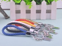 customized color metal charm genuine leather key chain
