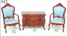 fine dollhouse miniature furniture showroom hand carved desk and chair sets