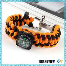Handmade compass fire starter survival bracelet,woven survival bracelets for women,Wholesale paracord