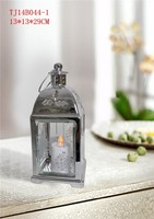 Chrome plated lantern with glass ,led solar light decorations