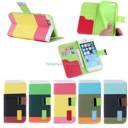 Flip PU Wallet Leather Case Cover With Card Slots Stand Holder for iphone6 Case 10PCS