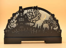 2015 new product laser cutting wooden decoration with light for Halloween