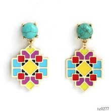 wholesale jewelry gold plated colored enamel luxury earring