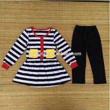 2015 fall boutique outfit girls autumn cotton outfit kids solid stripe top and stripes pant set baby clothes wholesale price