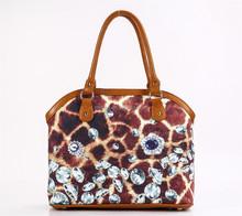 wholesale cotton fabric interlayer fashion print lady hand bag and cross body bag