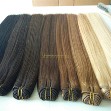 Hot sale full cuticle double drawn russian human hair weft human hair weaving 100g 120g with all kinds of colors