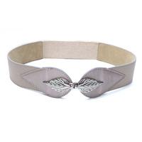 Lady Faux Leather Leaves Interlock Buckle Elastic Waist Belt