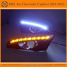High Power With Yellow Trun Signal LED DRL Fog Light for Captiva Excellent Quality LED Daylight for Chevrolet Captiva 2011~13'