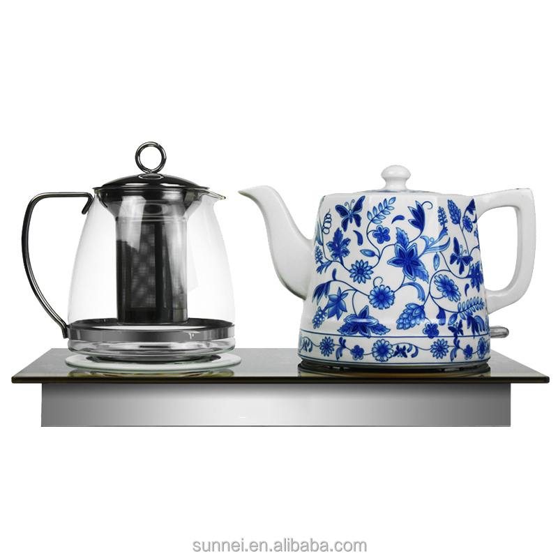Porcelain Electric Kettle ~ Ceramic electric kettle with glass tea pot trade supplier