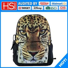 600d outdoor waterproof animal printing tiger school bag