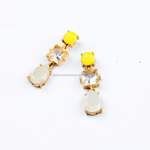 2015Wholesale Hot Sale fashion earring Alloy and square Crystal and Teardrop Resin Pendant Earring